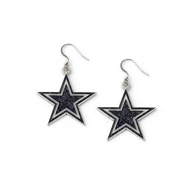 Dallas Cowboys Navy Glitter Star Earrings
