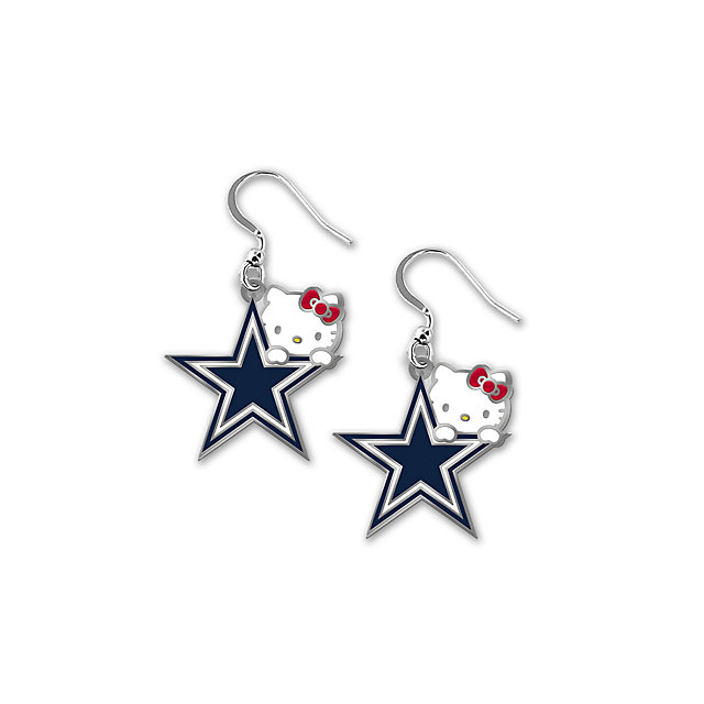 Dallas Cowboys Hello Kitty Peeking Dangler Earrings
