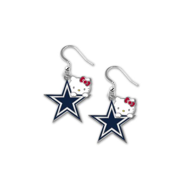 Dallas Cowboys Hello Kitty Peeking Dangler Earrings
