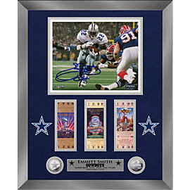Dallas Cowboys 8 x 10 Emmitt Smith Autographed Silver Coin Photo Mint