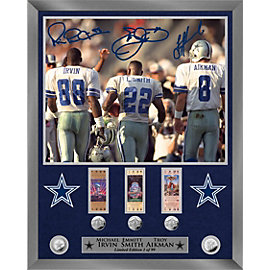 Dallas Cowboys 16x20 Triplets Autographed Silver Coin Photo Mint