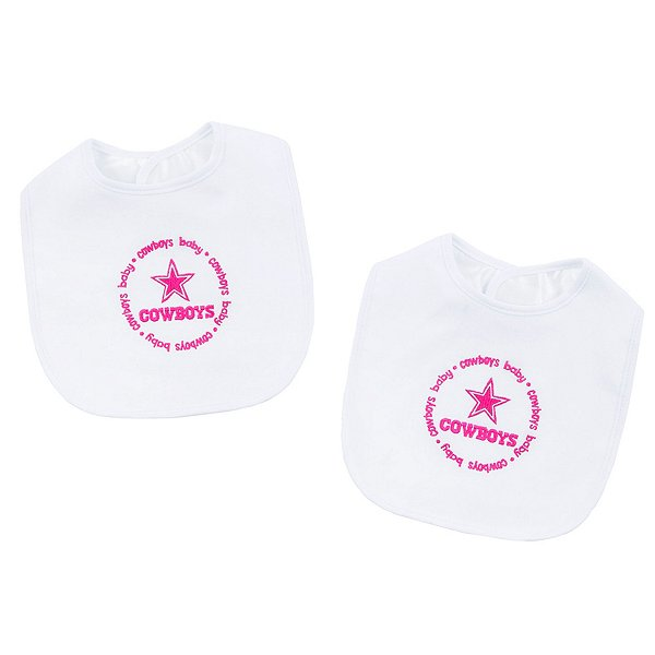 Dallas Cowboys 2-Pack Embroidered Pink Bibs