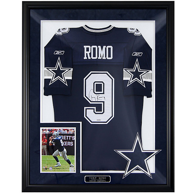dallas cowboys tony romo autograph framed away jersey autographs collectibles accessories cowboys catalog dallas cowboys pro shop