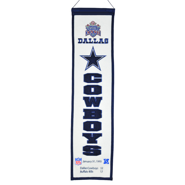 Dallas Cowboys Super Bowl XXVII Heritage Banner