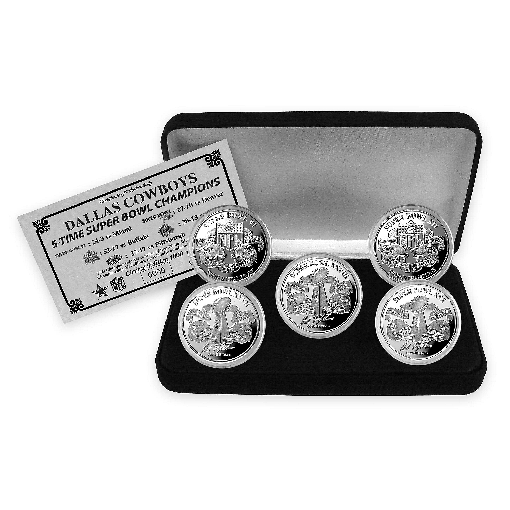 Dallas Cowboys Super Bowl Champs 5 Silver Game Coin Set