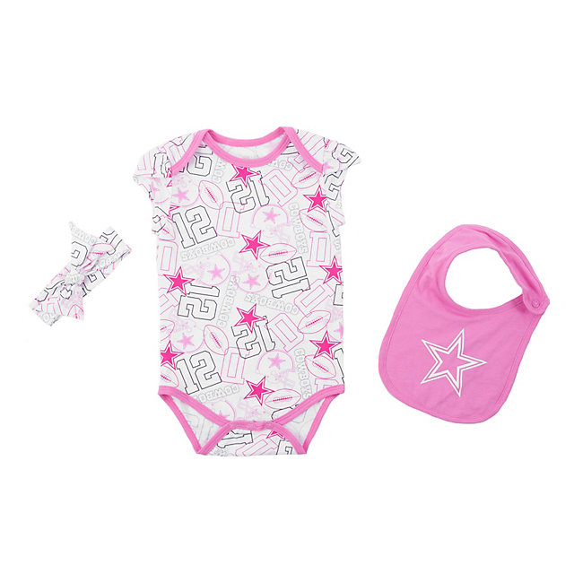 Dallas Cowboys Infant Sissy Bow Bib Bodysuit Set