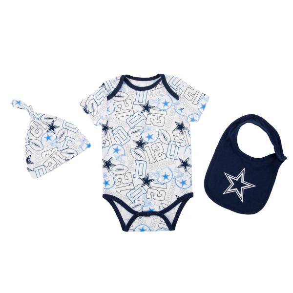 Dallas Cowboys Infant Tuffy Hat Bib Bodysuit Set