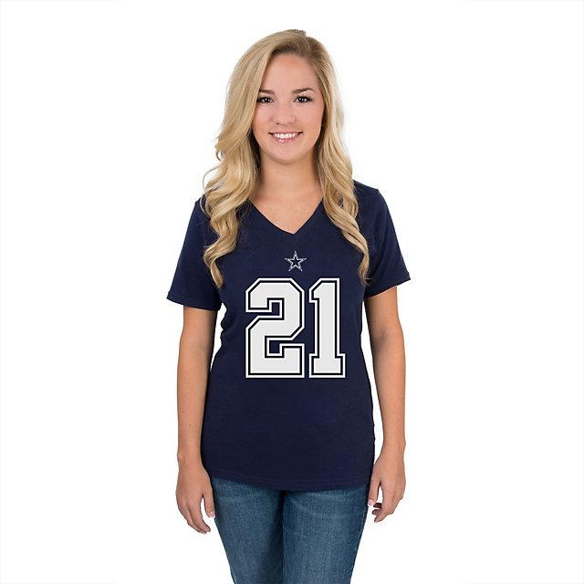 Dallas Cowboys Womens Ezekiel Elliott #21 Authentic Name and Number Tee