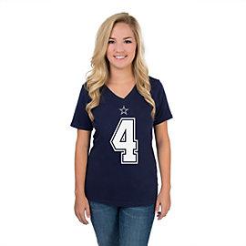 Dallas Cowboys Womens Dak Prescott #4 Authentic Name and Number Tee