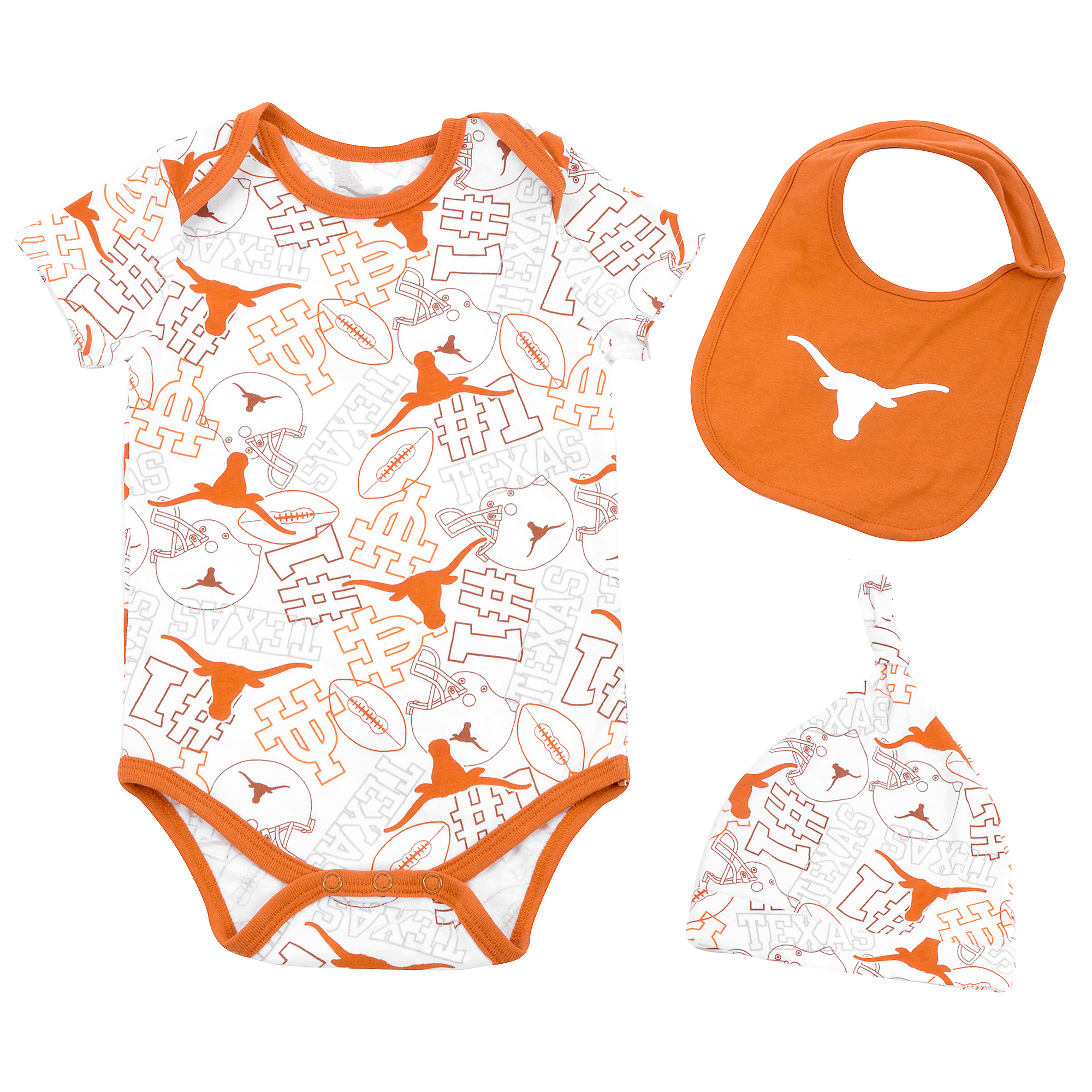 Texas Longhorns Infant Tuffy Hat Bib Bodysuit Set