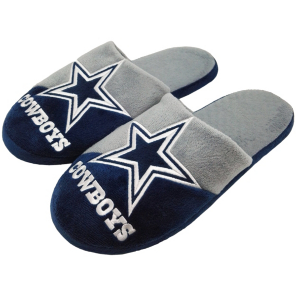 Dallas Cowboys Youth Colorblock Slippers - Size Small