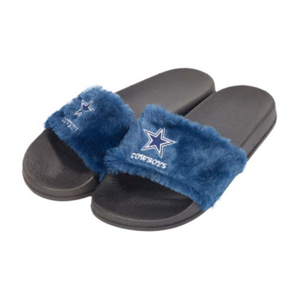 Dallas Cowboys Womens Logo Furry Slide - Size XL