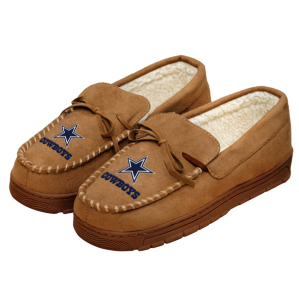 Dallas Cowboys Mens Moccasin Slippers - Size Small