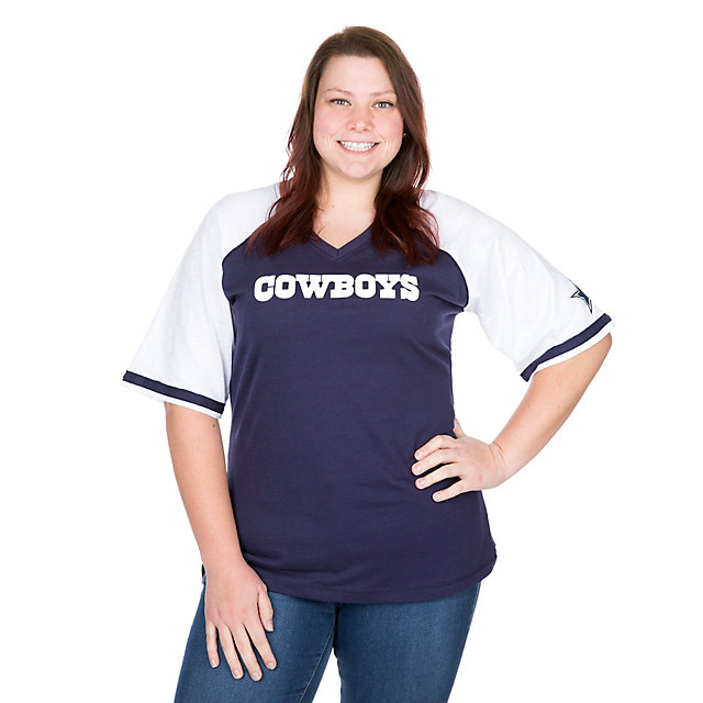 Dallas Cowboys Missy Contrast Short Sleeve Raglan Tee