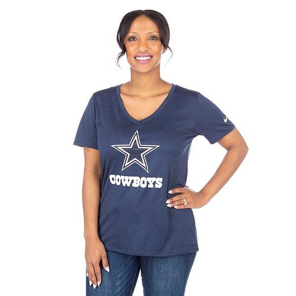 Dallas Cowboys Womens Nike Dri-FIT Touch Mid V Tee