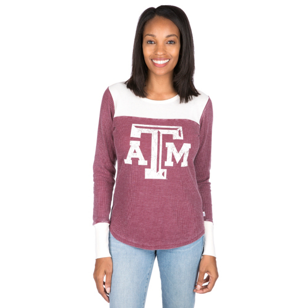 Texas A&M Aggies Womens Blind Side Thermal Long Sleeve Tee
