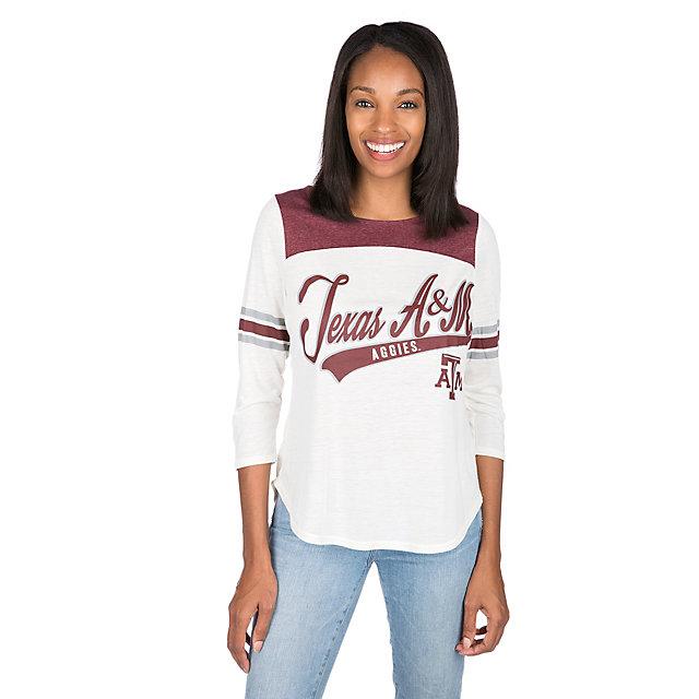 Texas A&M Aggies Womens 3/4 Sleeve Endzone Tee