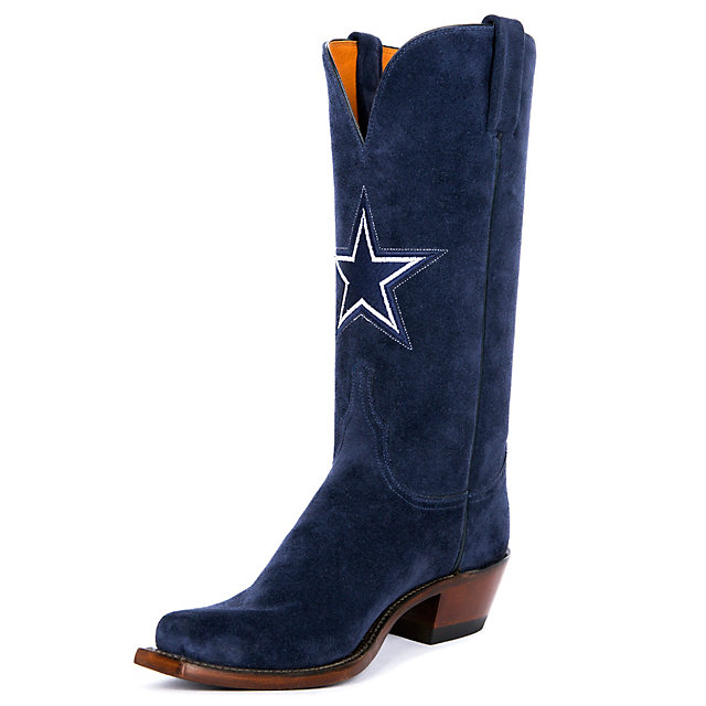 Dallas Cowboys Lucchese Womens Hail Mary Blaze Blue Suede Boot
