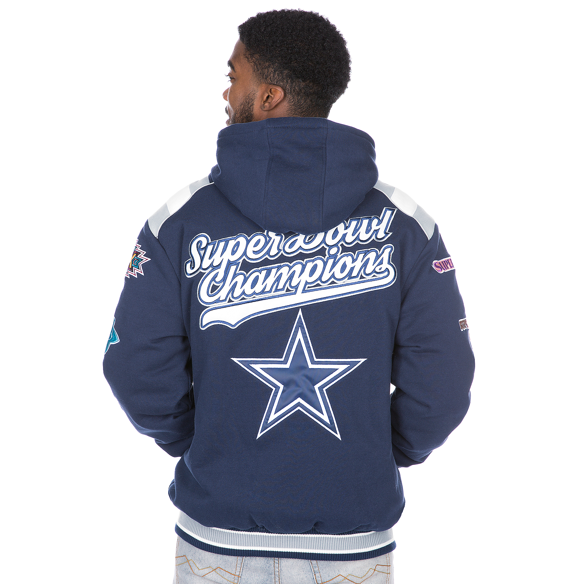 new concept 973cb ced71 Dallas Cowboys Hooded Commemorative Varsity Jacket   Fans United