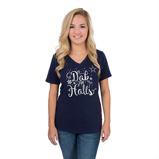 Dallas Cowboys Womens Dak The Halls Snow Tee