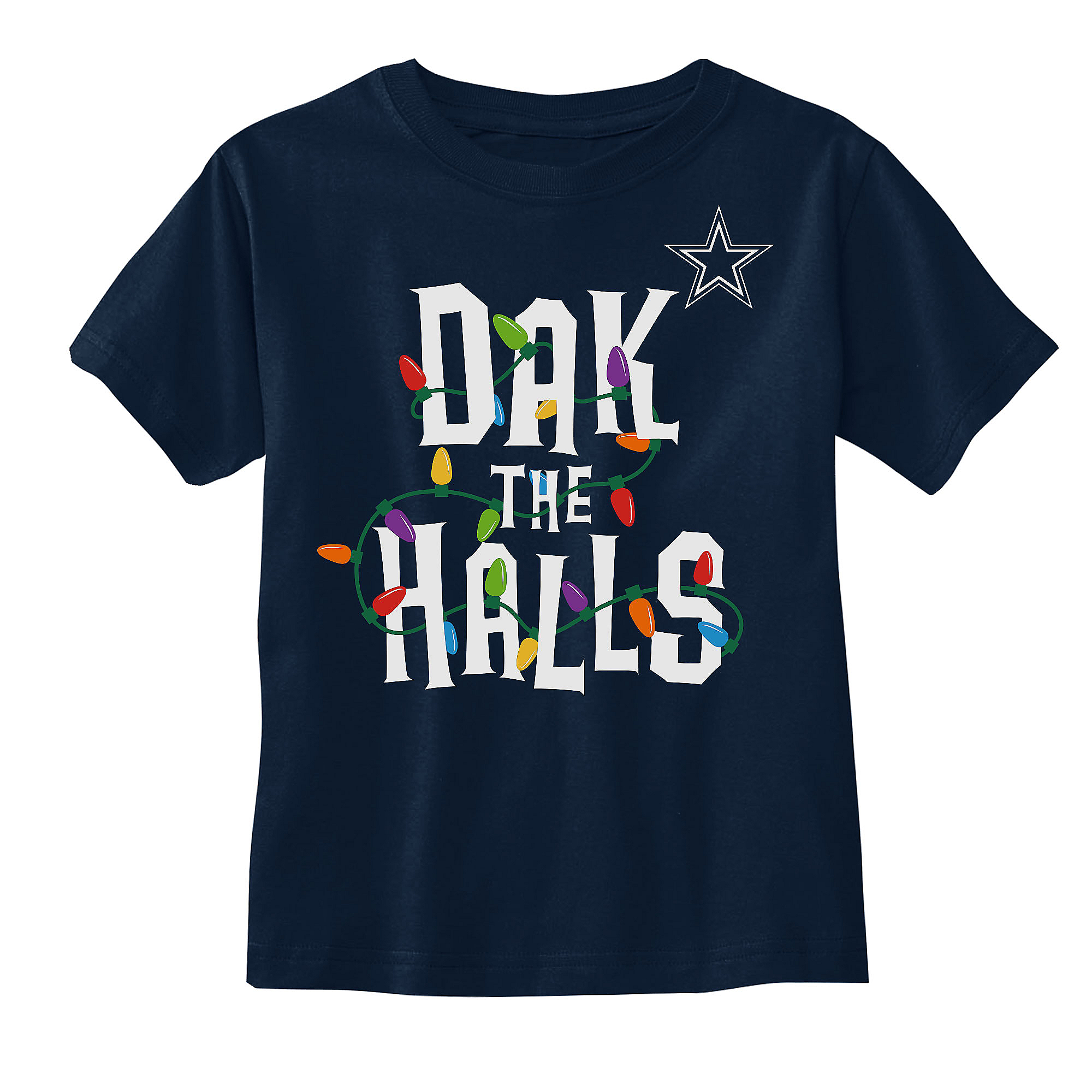 Dallas Cowboys Toddler Dak The Halls Lights Tee