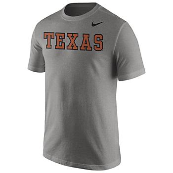 Texas Longhorns Nike Grey Wordmark Tee