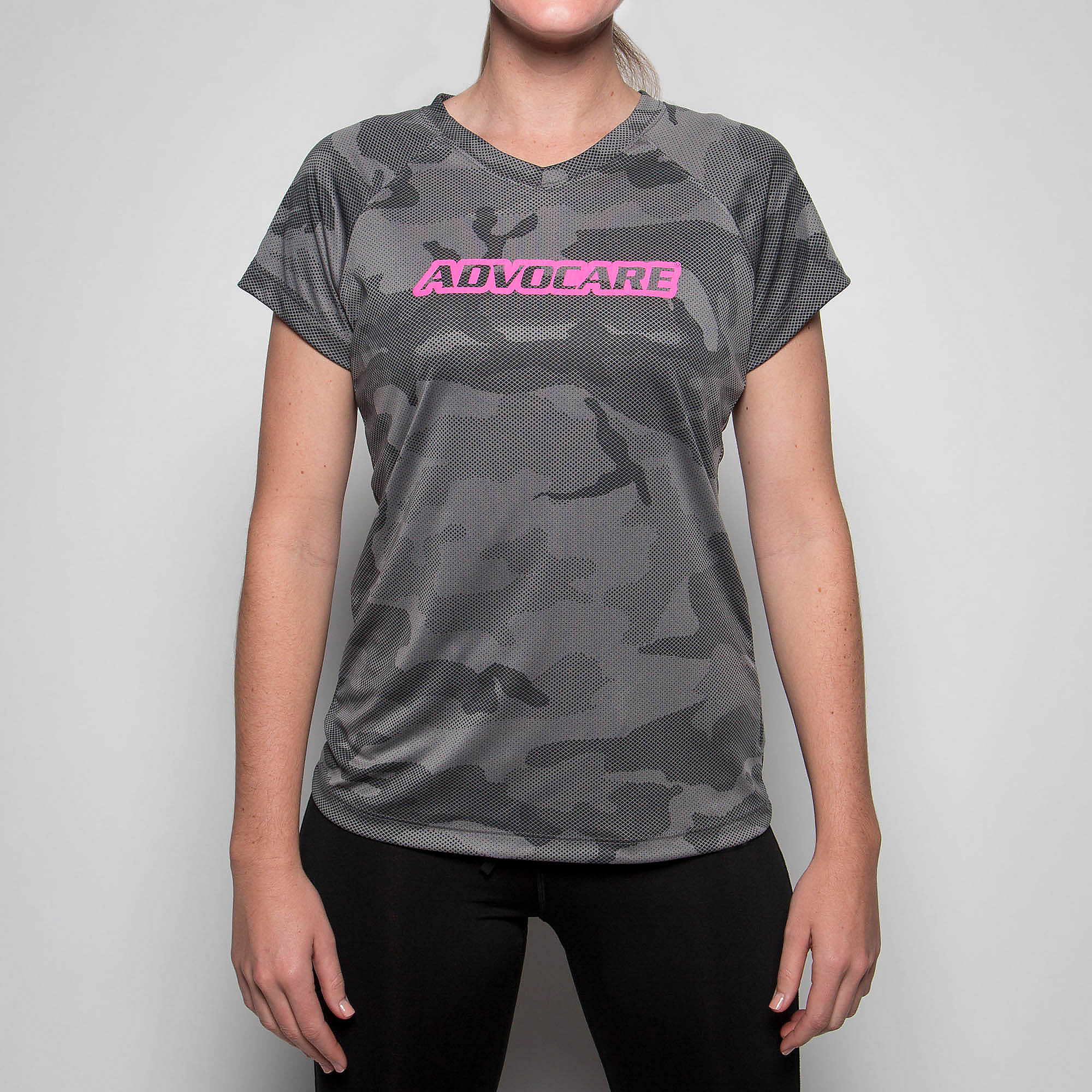 AdvoCare Camo Wordmark V-neck Tee