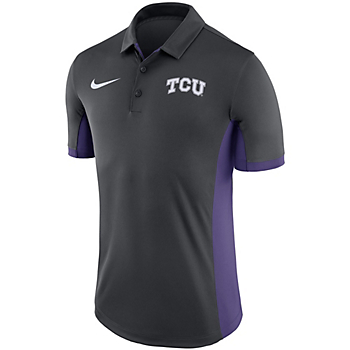 TCU Horned Frogs Nike Dry Mens Anthracite Evergreen Polo