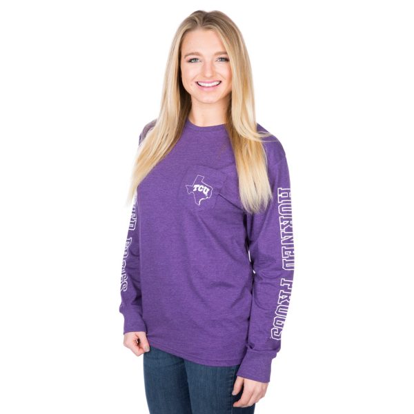 TCU Horned Frogs Pressbox Mystic Crew Pocket Tee