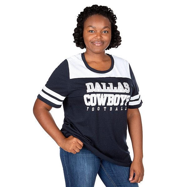 Dallas Cowboys Plus Size Contrast Dual Stripe Glitter Tee