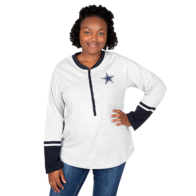 Dallas Cowboys Missy Button Henley Back Hit Tee