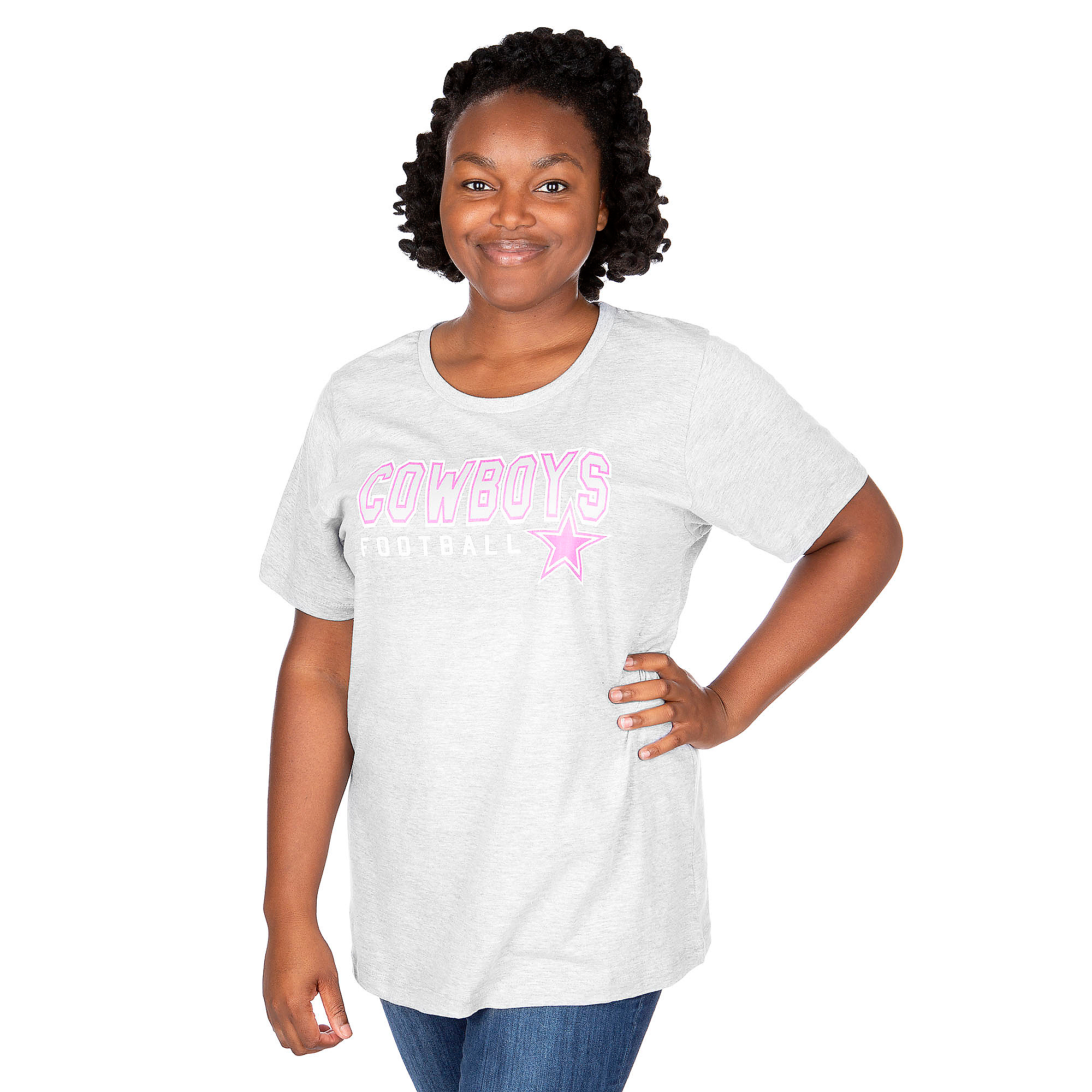 Dallas Cowboys Plus Size Football Glitter Tee