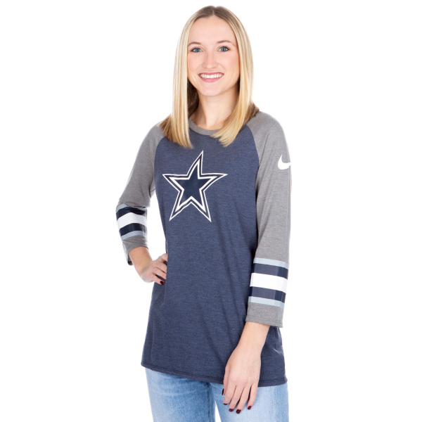 Dallas Cowboys Nike Womens Tri Sleeve Raglan Tee