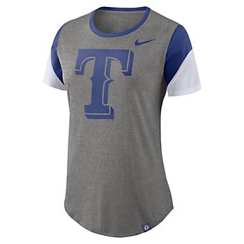 Texas Rangers Nike Womens Triblend Stripes Tee