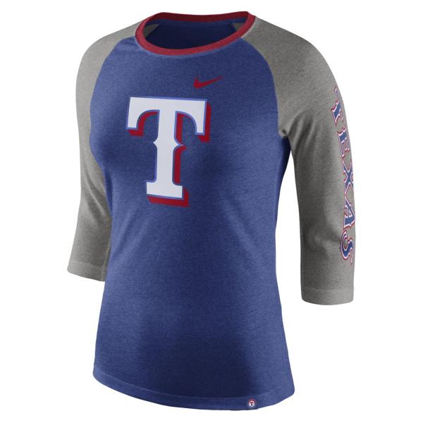 Texas Rangers Nike Womens Blue Triblend Raglan Tee