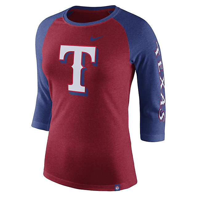 Texas Rangers Nike Womens Triblend Raglan Tee