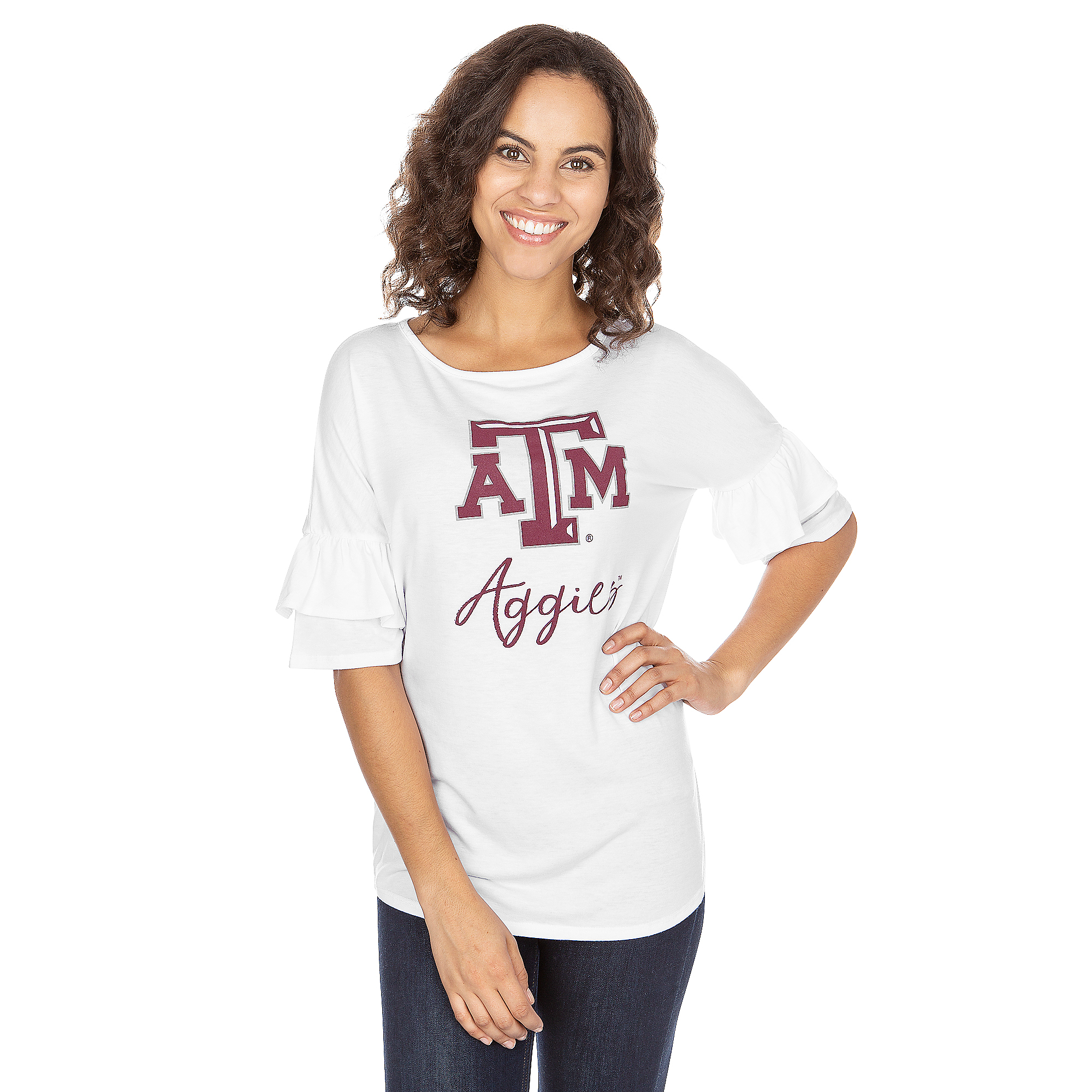 Texas A&M Aggies Ruffled Sleeve Tee