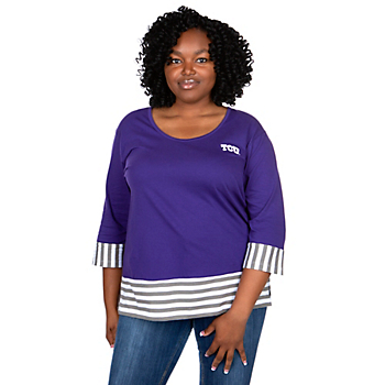 TCU Horned Frogs UG Apparel Womens Plus Size Striped Panel T-Shirt