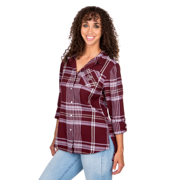 Texas A&M Aggies UG Apparel Womens Boyfriend Plaid Button Down Top