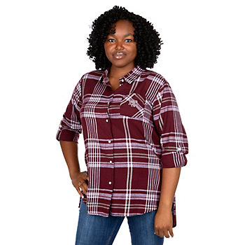 Texas A&M Aggies UG Apparel Womens Plus Size Boyfriend Plaid Button Down Top