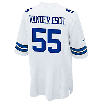 Dallas Cowboys Leighton Vander Esch #55 Nike White Game Replica Jersey