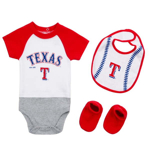 Texas Rangers Infant Baseball Creeper, Bib and Bootie Set