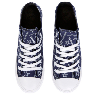 Dallas Cowboys Womens Repeat Logo Canvas Shoes