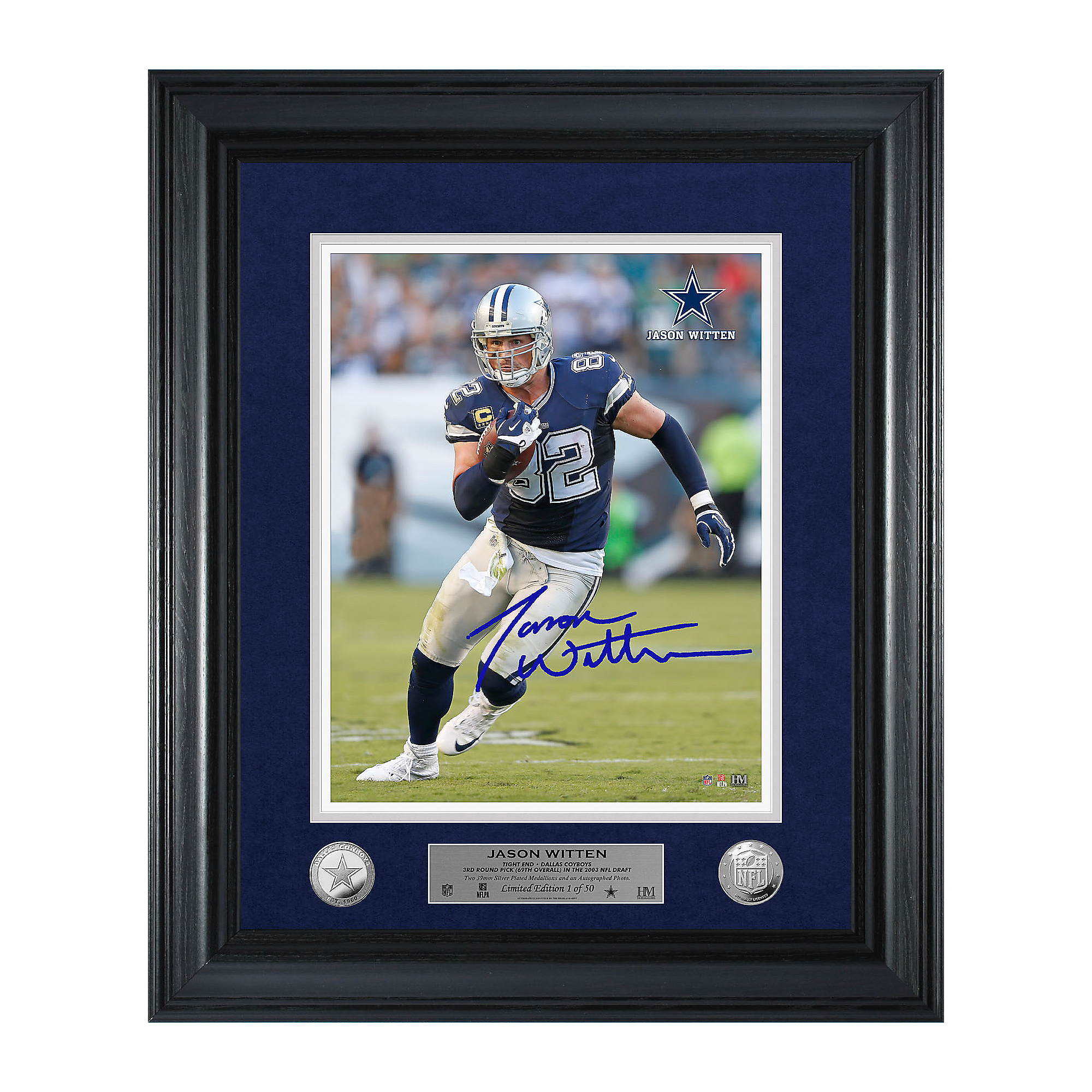 Dallas Cowboys Jason Witten Away Game Autograph Photo Mint