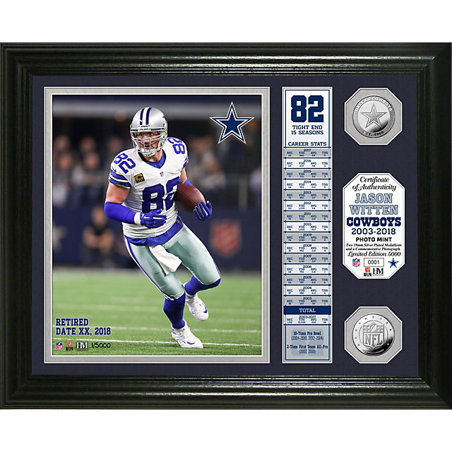 Dallas Cowboys Jason Witten Retirement Banner Silver Coin Photo Mint