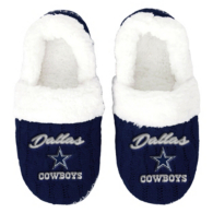 Dallas Cowboys Womens Script Moccasin Slippers