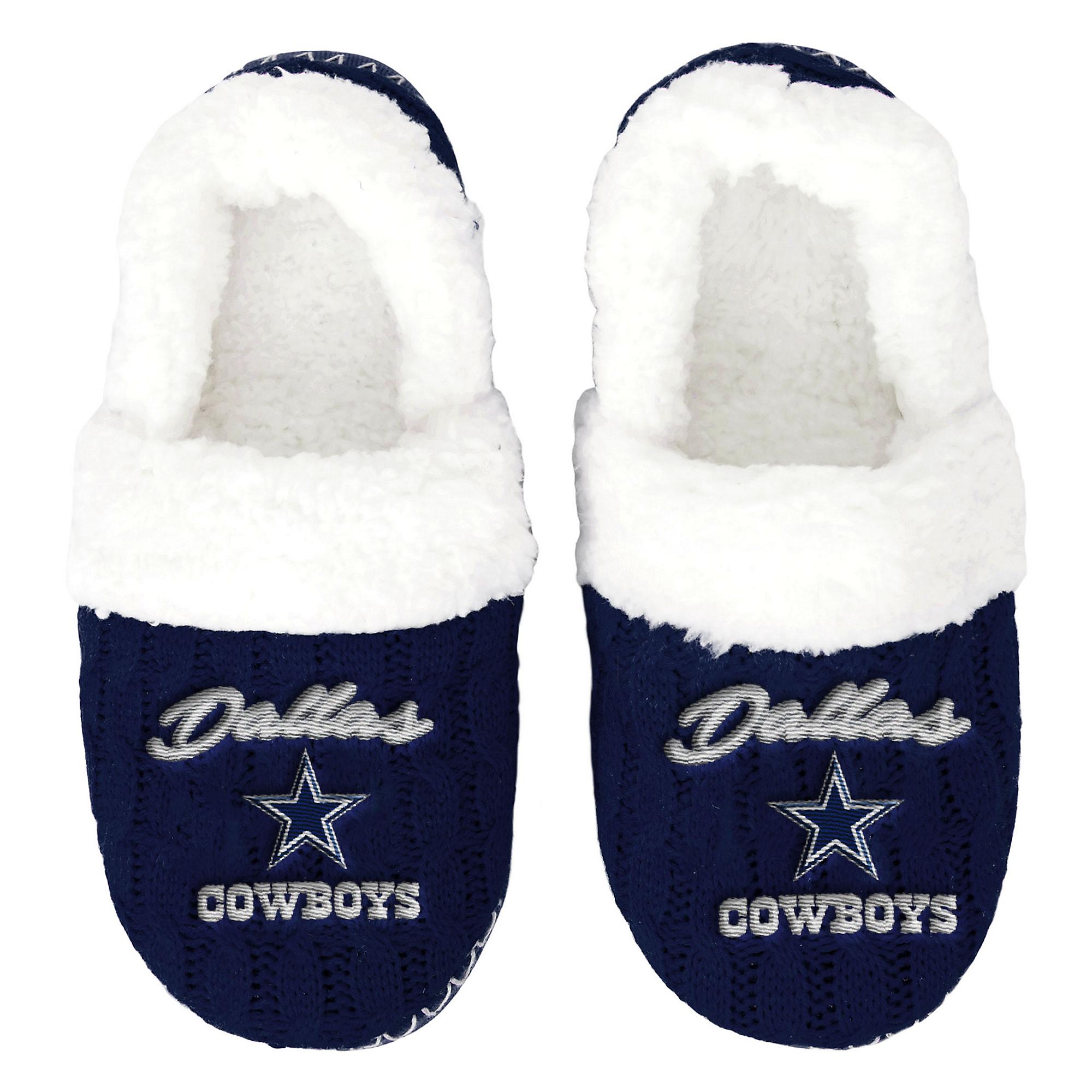 Dallas Cowboys Womens Script Moccasin Slippers