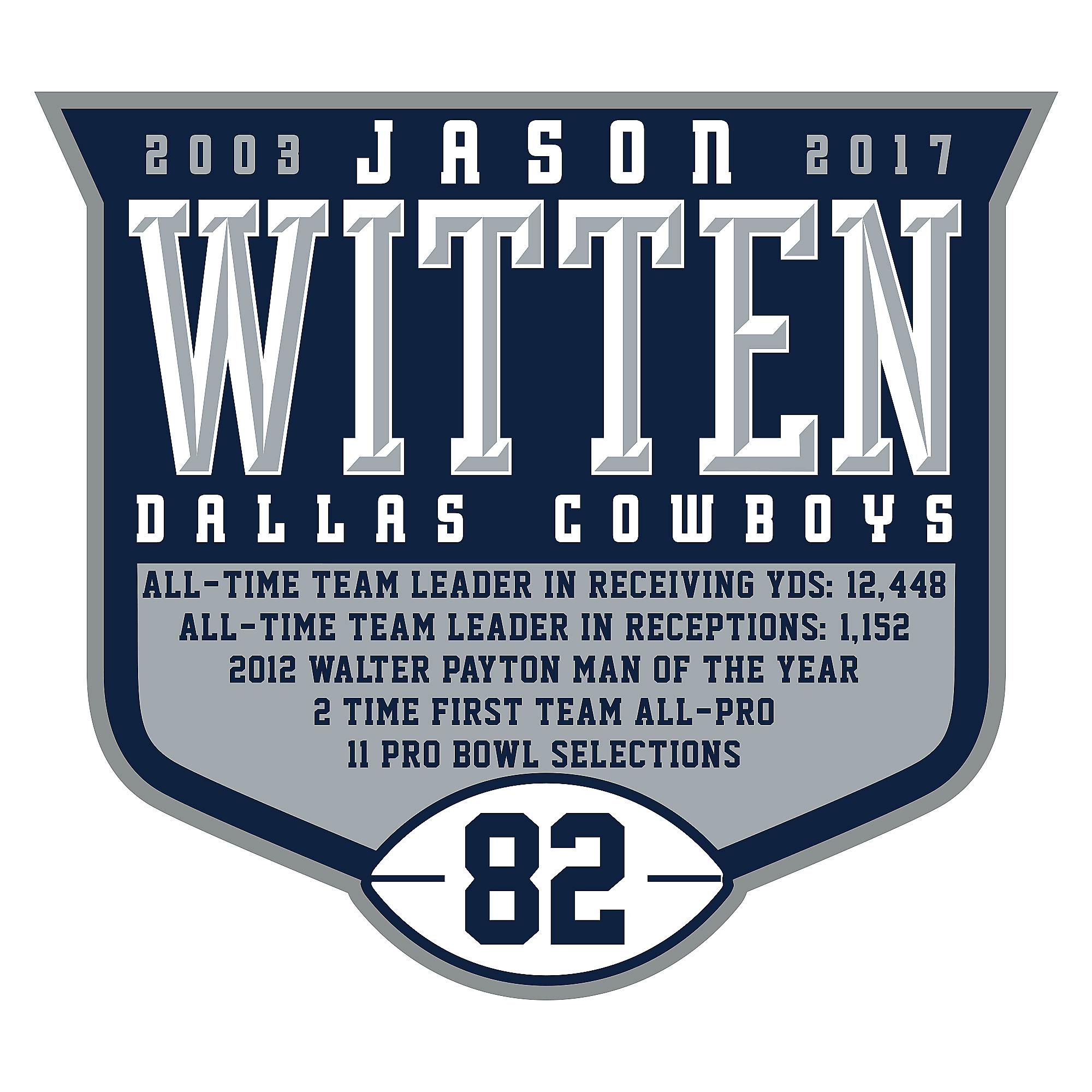 615ca724 Dallas Cowboys Womens Jason Witten #82 Commemorative Patch Nike Navy ...