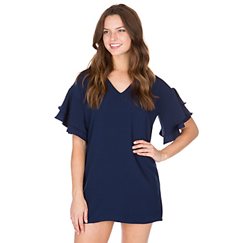 Studio BLVD Navy Ruffle Dress