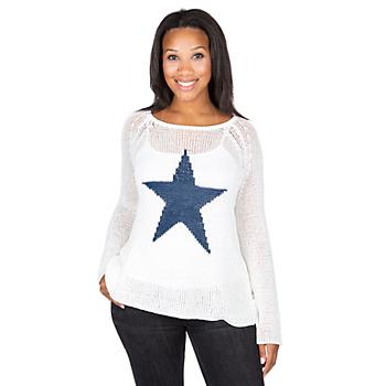 Studio Wooden Ships White Star Print Sweater